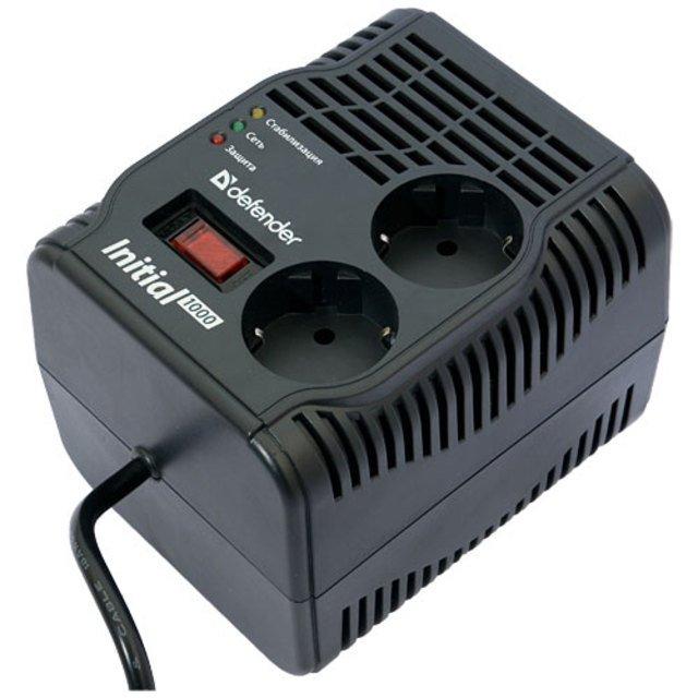 (99018) Стабилизатор напряжения Defender AVR Initial 1000VA 320Вт, 2 розетки, Uвх 175-285В