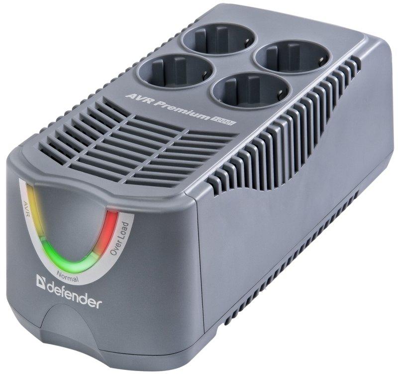 (99026) Стабилизатор напряжения Defender AVR Premium 600i 250Вт, 4 розетки, Uвх 150-280В