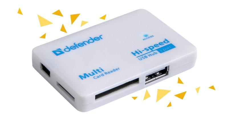 (83502) Универсальное USB устройство COMBO TINY Картридер+хаб (3 порта USB2.0)