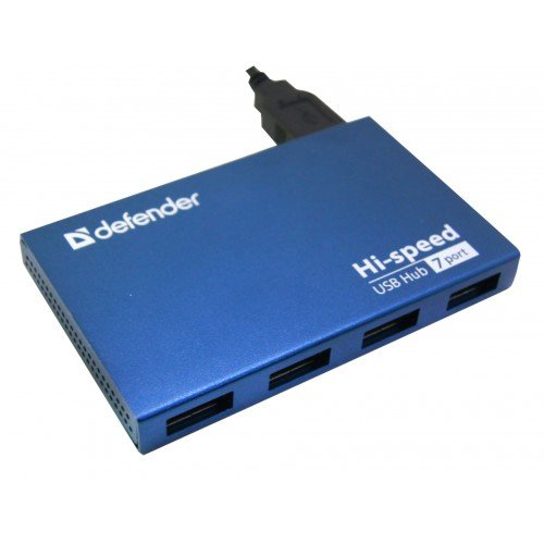 (83505) Разветвитель DefenderSEPTIMA SLIM USB2.0 - 7 портов, + блок питания DC 5В...2А, + кабель U
